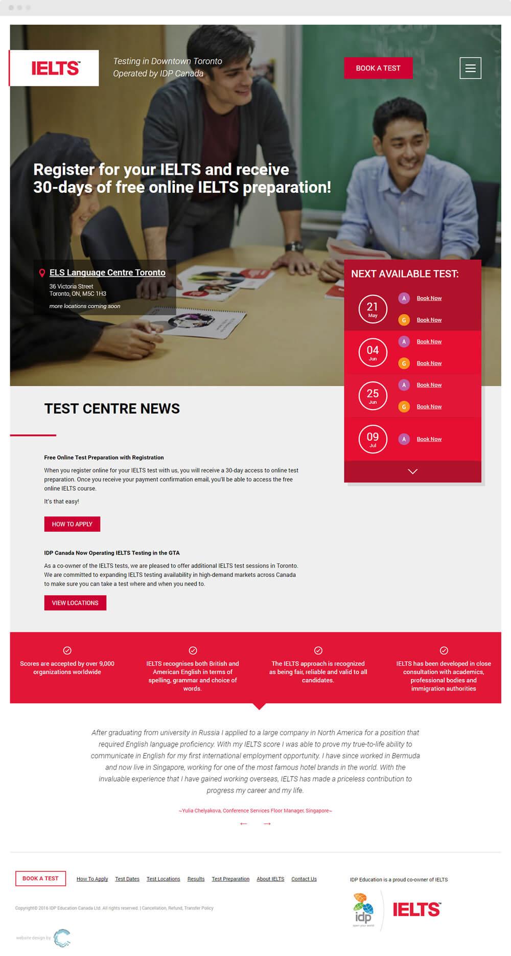 Website for IDP IELTS Canada - Convergine