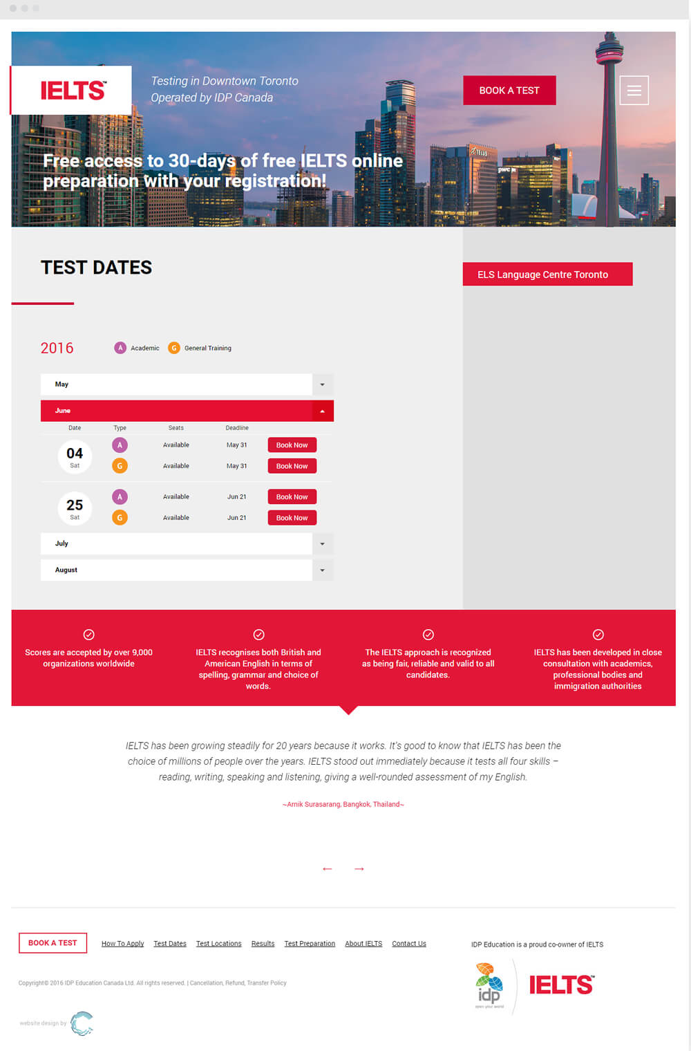 Website for IDP IELTS Canada - Convergine